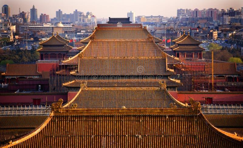 Ciudad prohibida azoteas amarillas Pekín China imagen de archivo