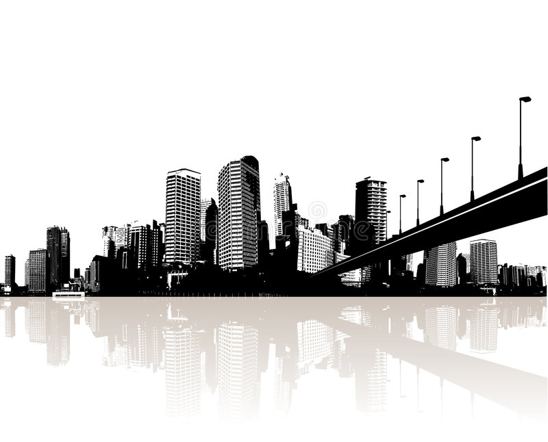 Ciudad reflejada en agua. Vector libre illustration
