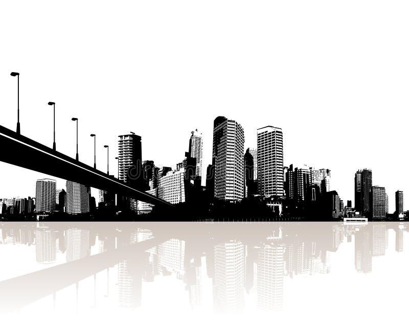 Ciudad reflejada en el agua. libre illustration