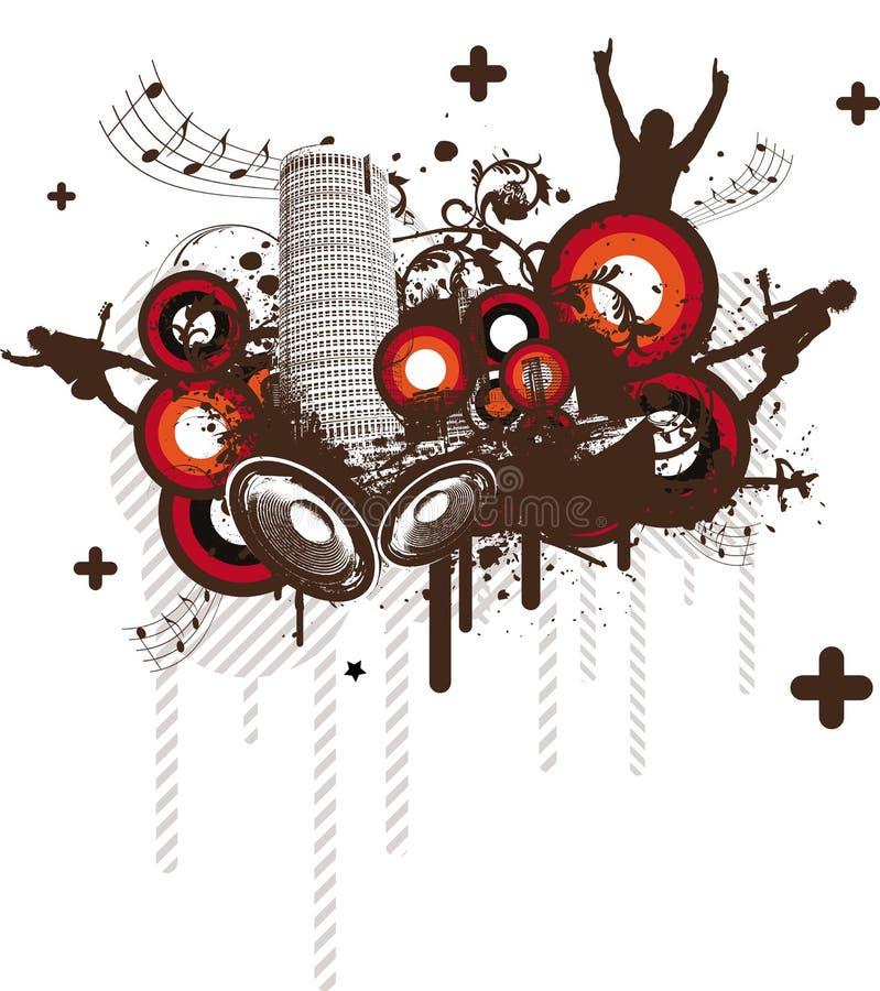 Ciudad retra de la música ilustración del vector