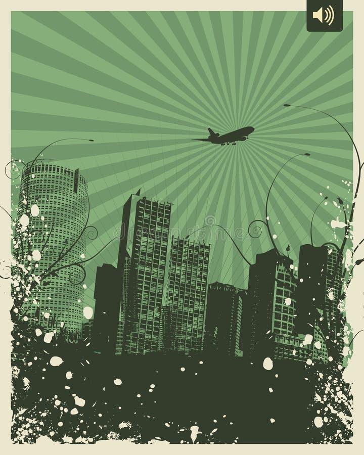 Ciudad retra del partido ilustración del vector