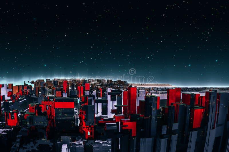 Ciudad roja colorida del fractal del extracto con la estrella del espacio exterior Ciudad futura moderna, representación 3D stock de ilustración
