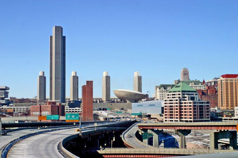 Ciudad Scape de Albany NY foto de archivo