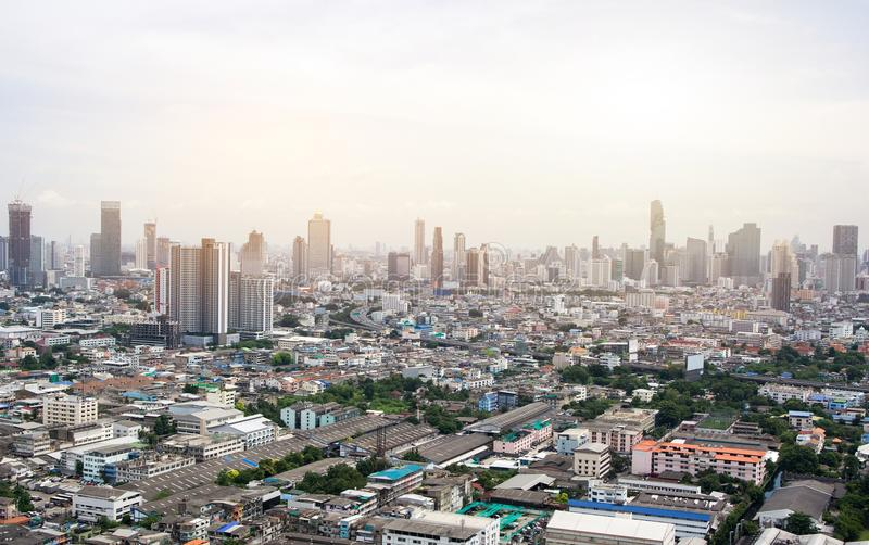 Ciudad Scape de Bangkok por mañana fotografía de archivo