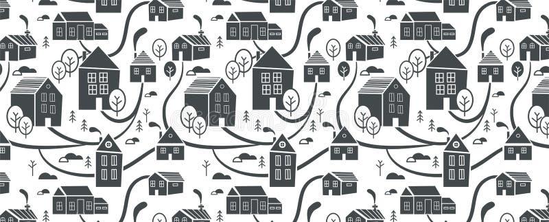 Ciudad septentrional Fondo y modelo para el invierno, el tema del Año Nuevo y de la Navidad Fondo dibujado mano creativa de la Na ilustración del vector