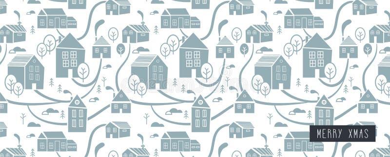Ciudad septentrional Fondo y modelo para el invierno, el tema del Año Nuevo y de la Navidad Fondo dibujado mano creativa de la Na libre illustration