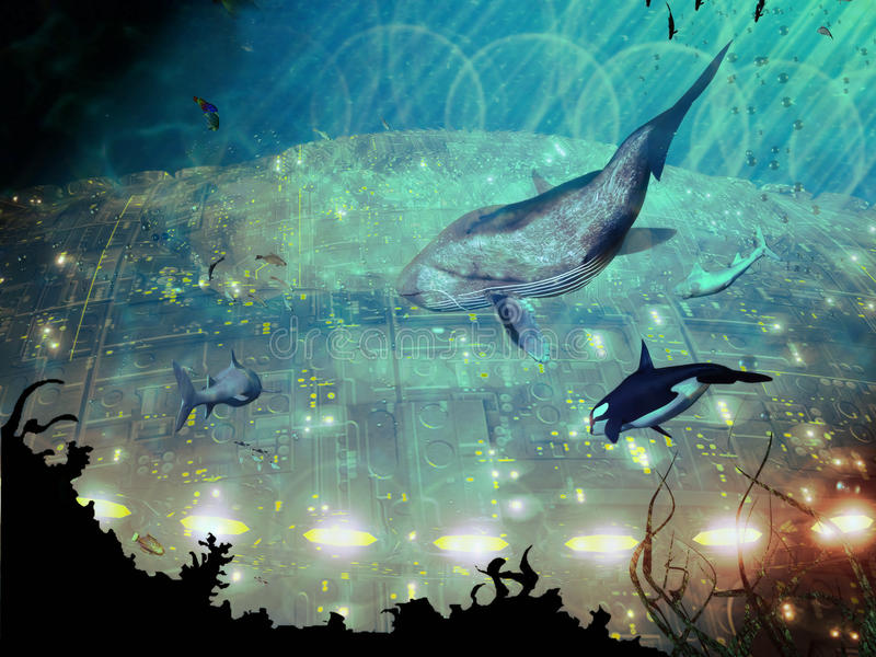 Ciudad subacuática ilustración del vector
