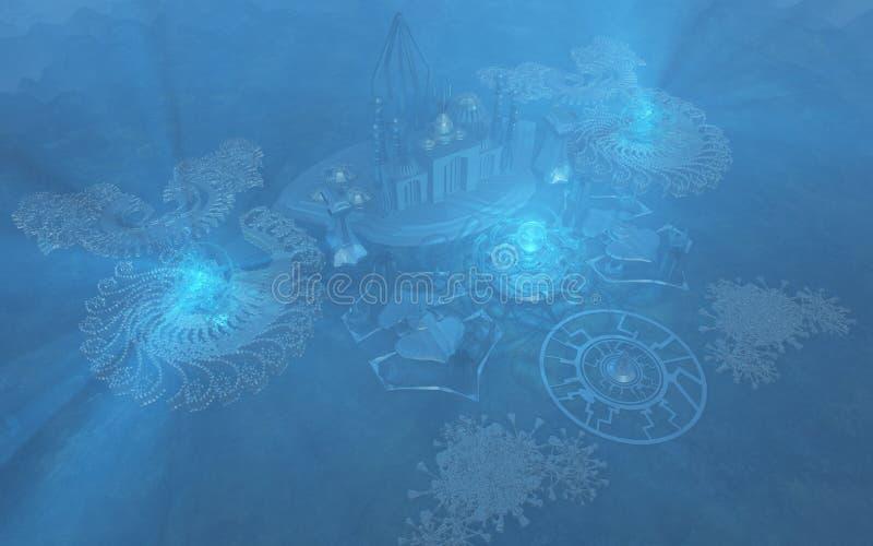 Ciudad subacuática stock de ilustración