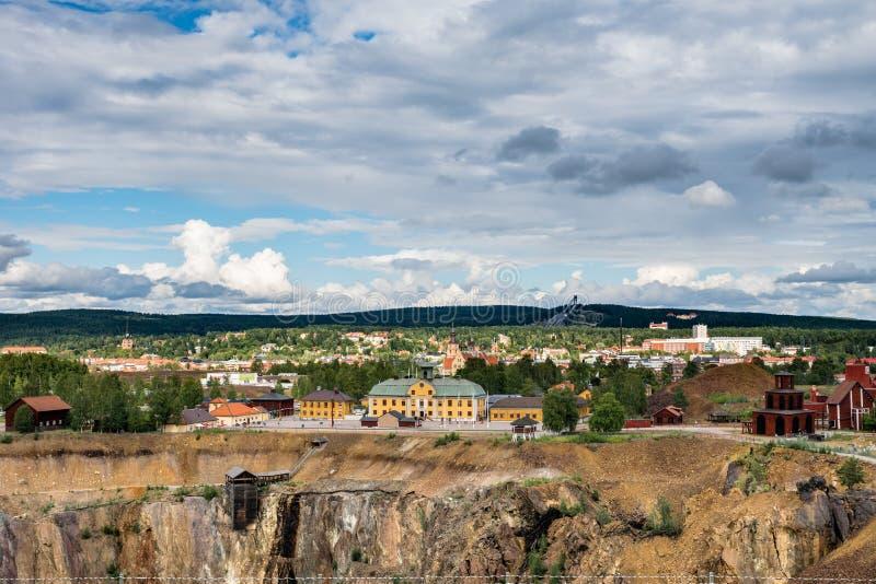 Ciudad sueca Falun de la explotación minera imagen de archivo