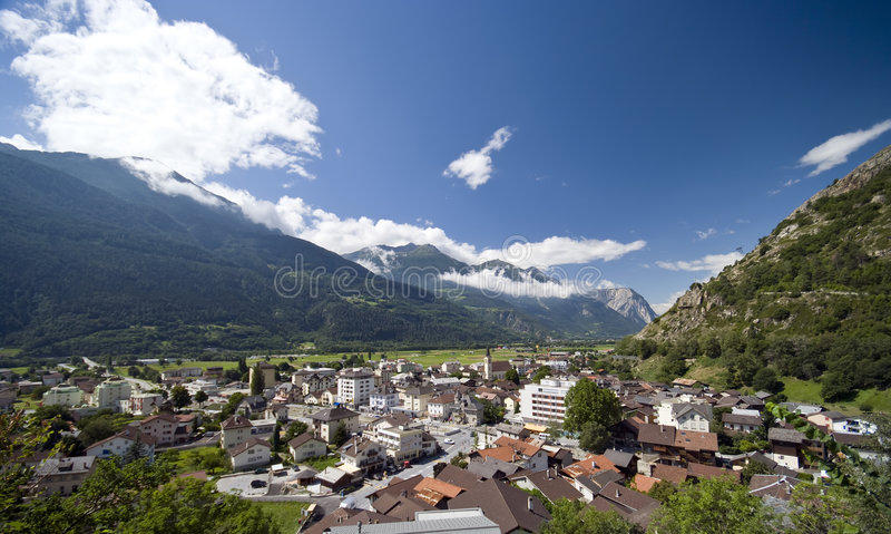 Ciudad suiza de Gampel foto de archivo libre de regalías