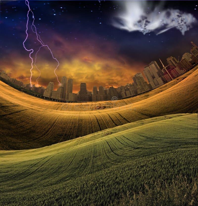 Ciudad surrealista ilustración del vector
