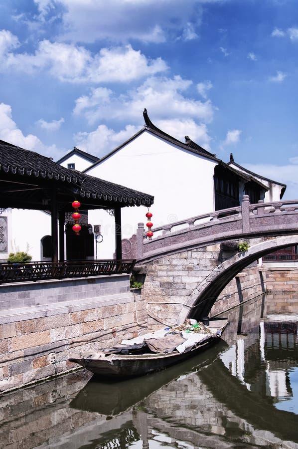Ciudad Suzhou China del agua de Luzhi fotografía de archivo