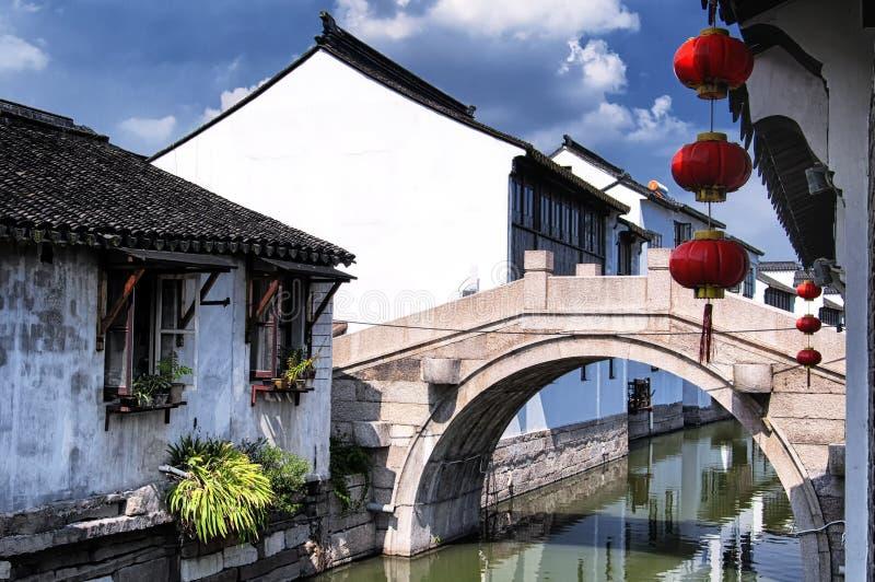 Ciudad Suzhou China del agua de Luzhi imagen de archivo