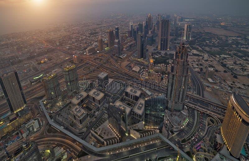 Ciudad United Arab Emirates (UAE de Dubai de la visión aérea imágenes de archivo libres de regalías
