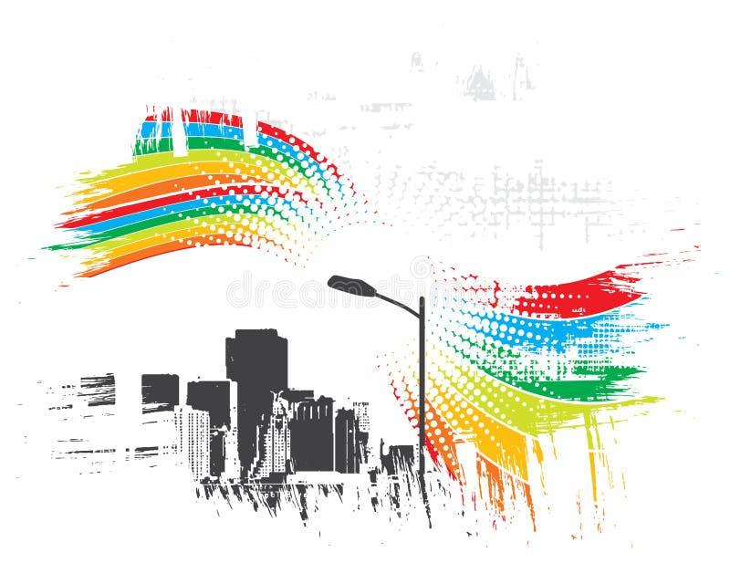 Ciudad urbana del arco iris libre illustration