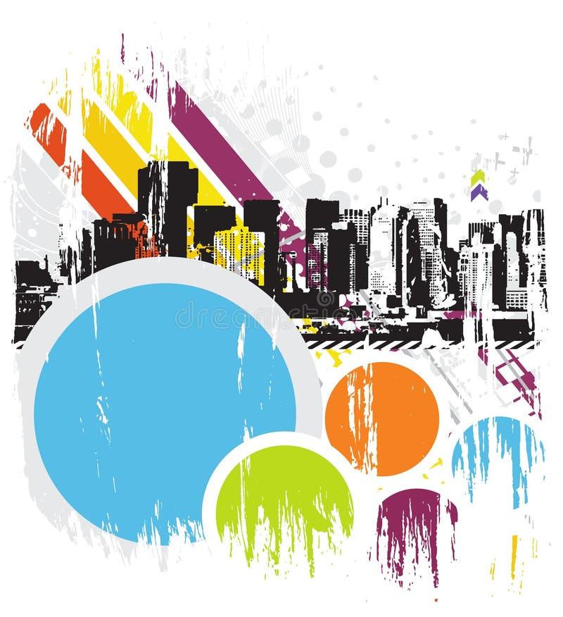 Ciudad urbana del grunge stock de ilustración