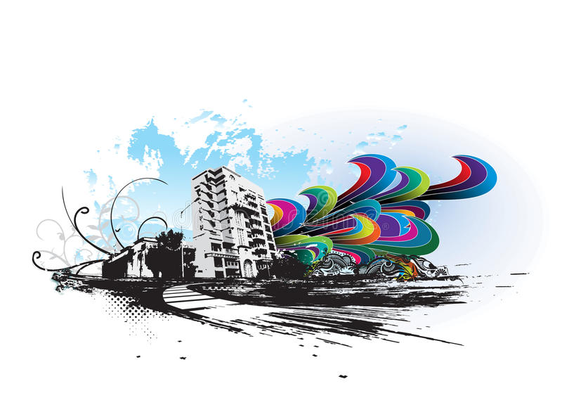 Ciudad urbana del grunge libre illustration