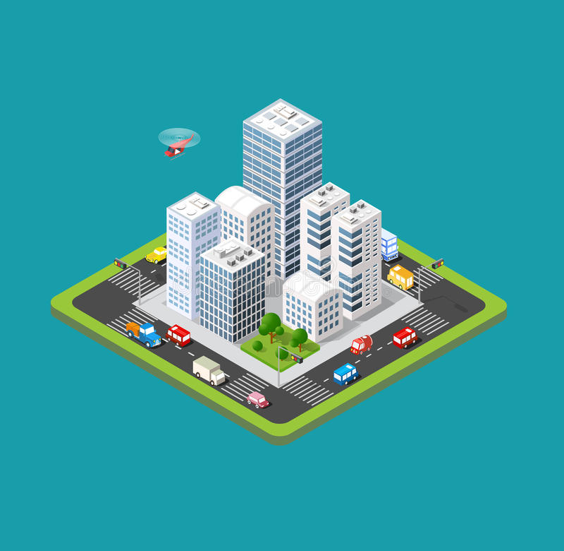 Ciudad urbana isométrica ilustración del vector