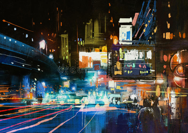 Ciudad urbana moderna en la noche stock de ilustración