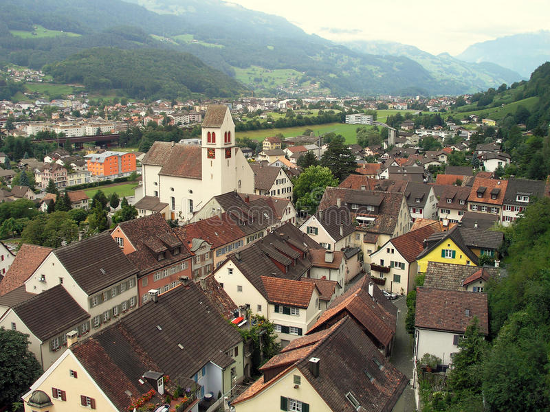 Ciudad Vaduz, principado de Liechtenstein fotografía de archivo libre de regalías