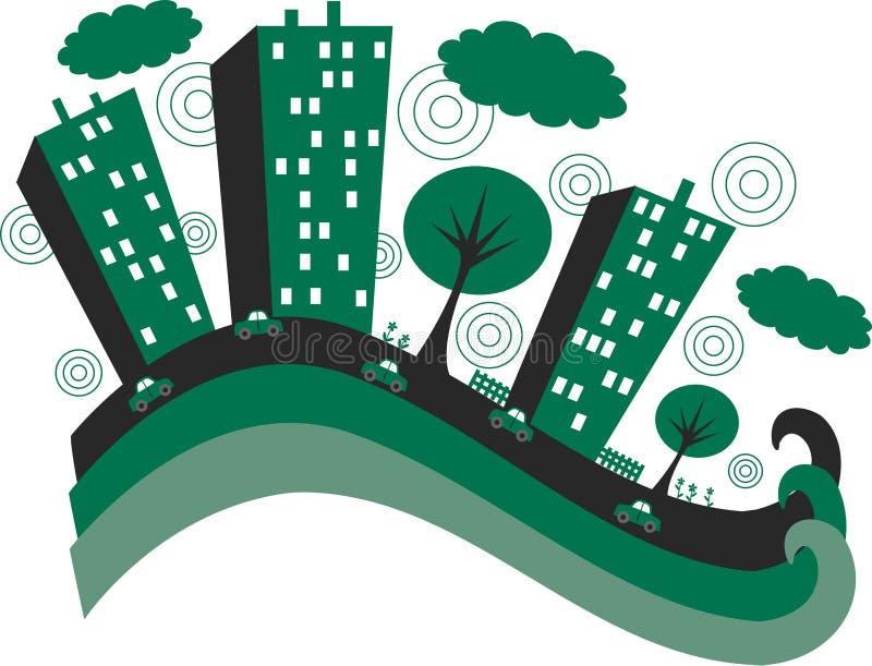 Ciudad verde stock de ilustración