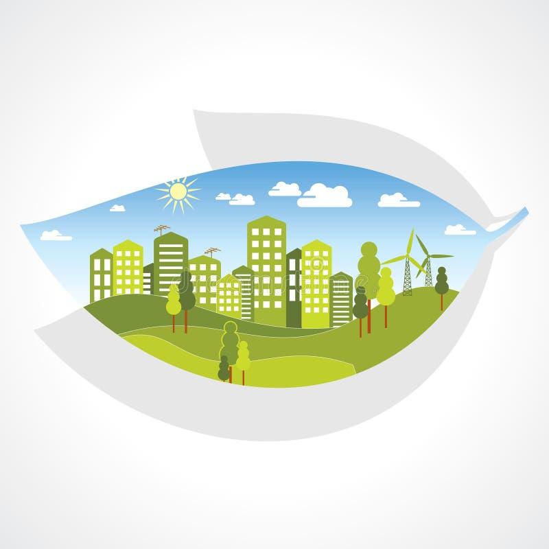 Ciudad verde dentro de la hoja ilustración del vector