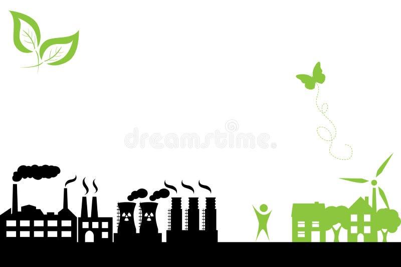 Ciudad verde y edificio industrial stock de ilustración