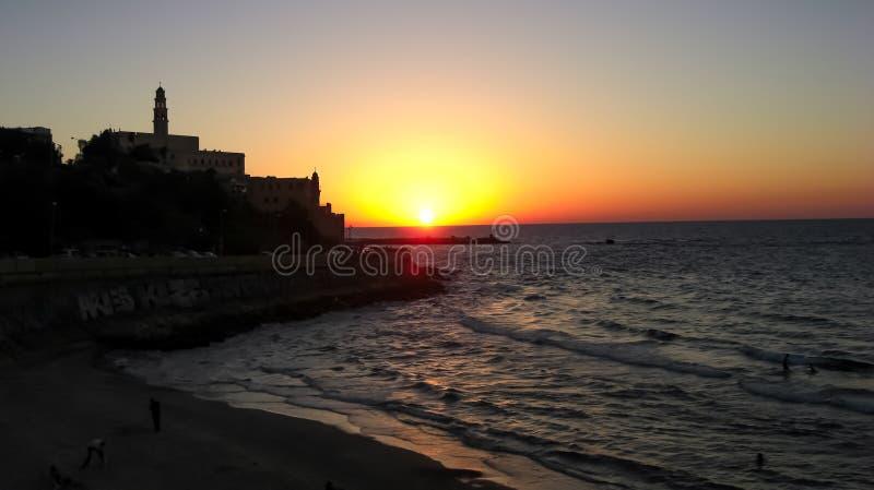 Ciudad vieja de Jaffa, puesta del sol foto de archivo