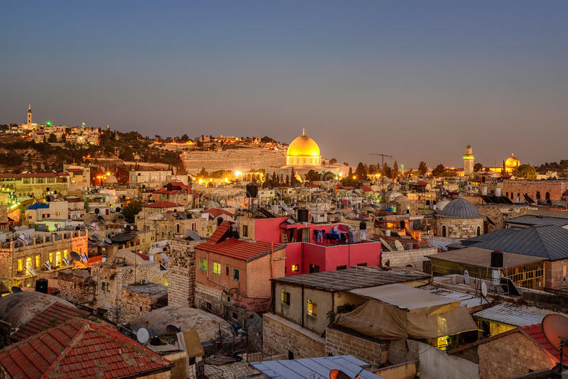 Ciudad vieja de Jerusalén y de la Explanada de las Mezquitas, Israel imagen de archivo