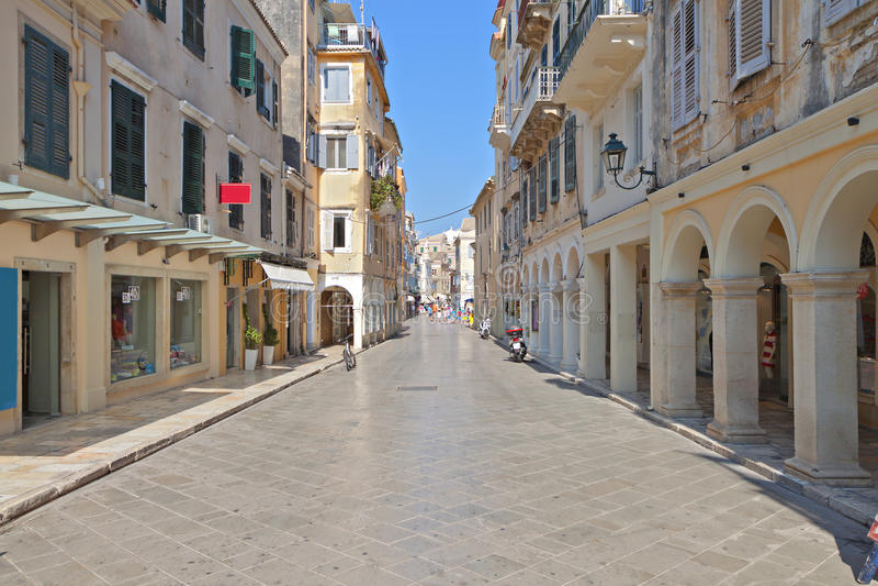 Ciudad vieja de la isla de Corfú en Grecia imagen de archivo