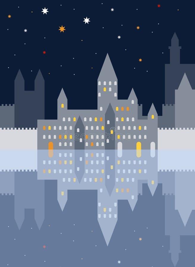 Ciudad vieja de la noche con el castillo y terraplenes y ellos reflexión Ilustración del vector ilustración del vector