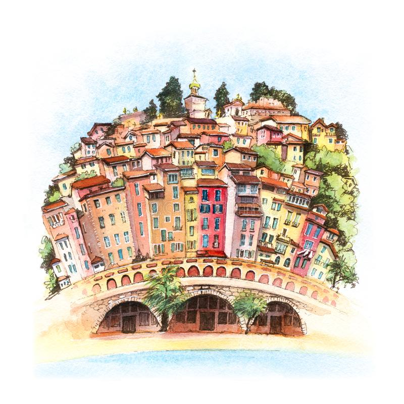 Ciudad vieja de Menton, Francia imagen de archivo libre de regalías