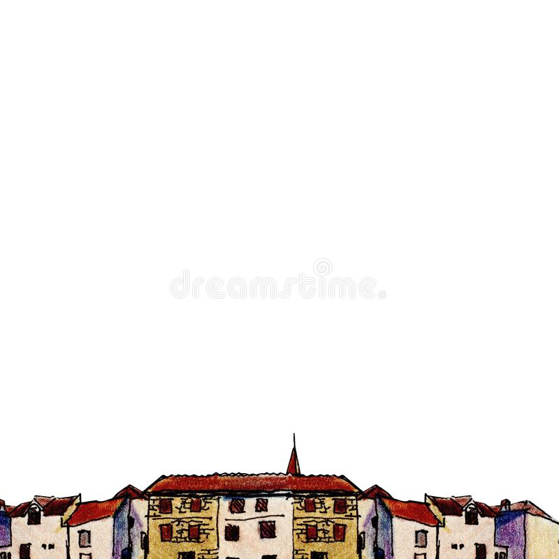 Ciudad vieja en estilo del bosquejo y aislada en el fondo blanco, lápiz colorido ilustración del vector