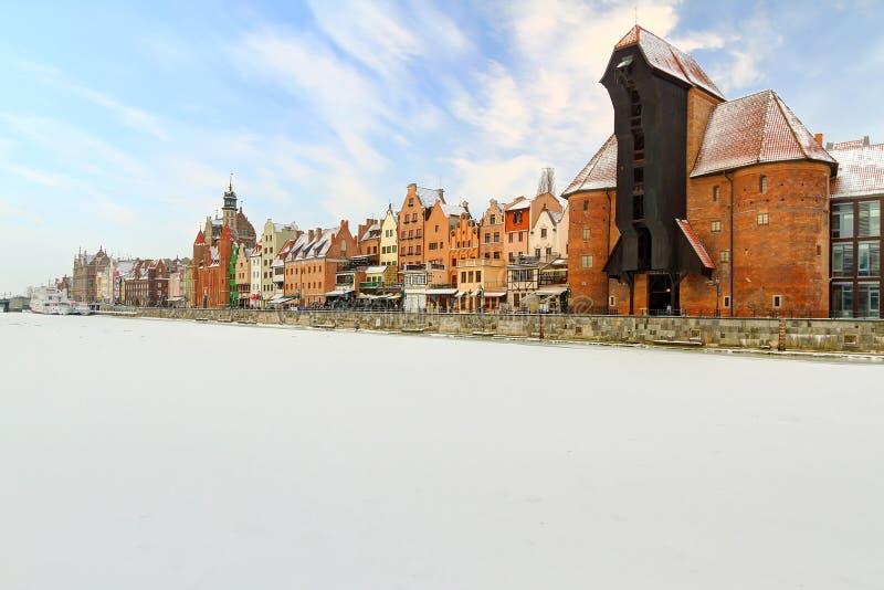 Ciudad Vieja En Gdansk En El Invierno Imagen de archivo libre de regalías