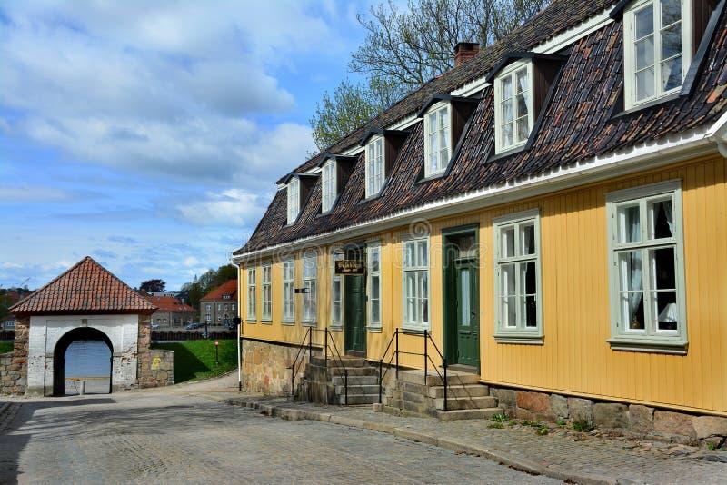 Ciudad vieja Gamlebyen Fredrikstad, Noruega imagen de archivo libre de regalías