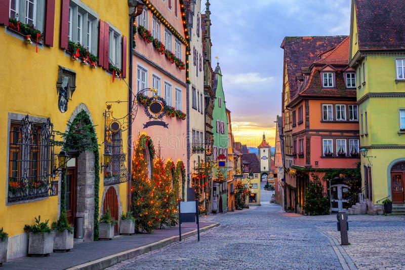 Ciudad vieja histórica de Tauber del der del ob de Rothenbug, Alemania fotografía de archivo libre de regalías