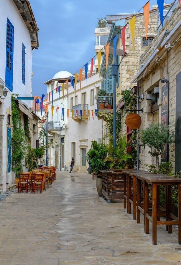 Ciudad vieja, Limassol, Chipre, escena de la calle foto de archivo