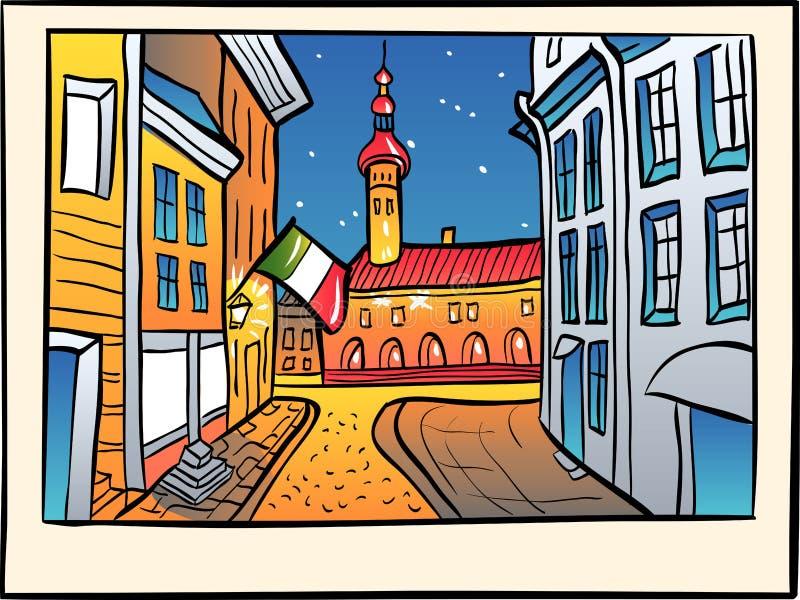 Ciudad vieja medieval del vector, Tallinn, Estonia ilustración del vector