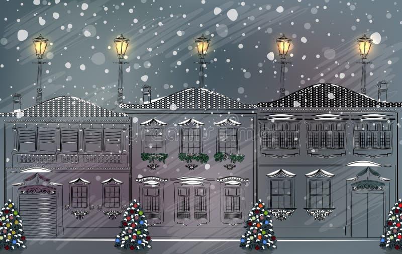 Ciudad vieja Nevado en la Navidad stock de ilustración