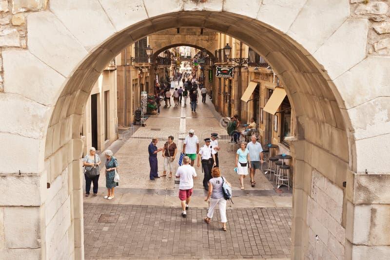 Ciudad vieja (Parte Vieja) en San Sebastian, España fotografía de archivo