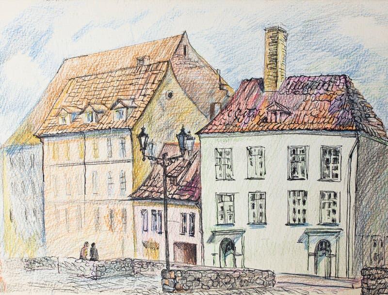 Ciudad vieja riga Bosquejos urbanos stock de ilustración