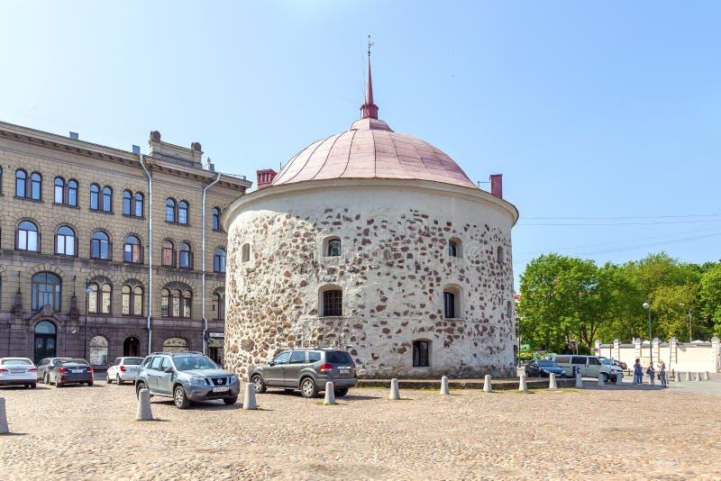 Ciudad Vyborg Plaza del mercado Torre redonda imagen de archivo libre de regalías