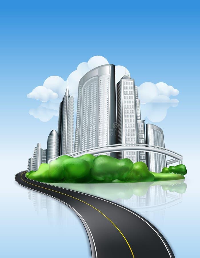 Ciudad y camino ilustración del vector