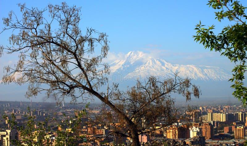 Ciudad y el monte Ararat de Ereván imagen de archivo