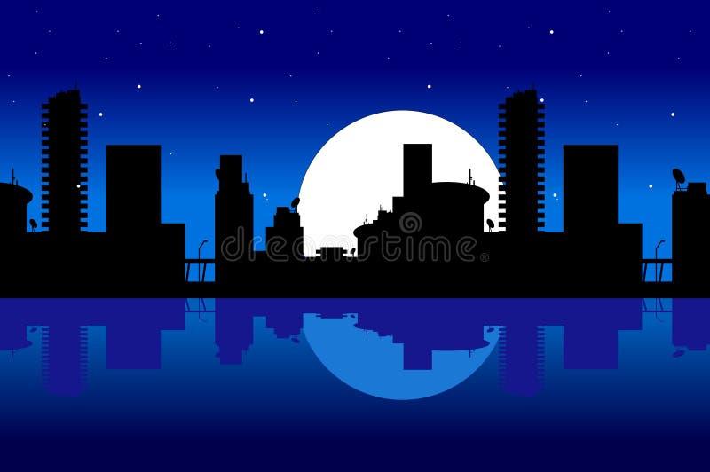 Ciudad y noche ilustración del vector