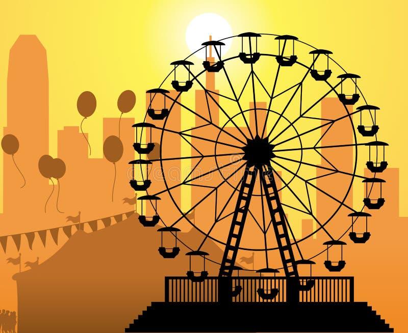 Ciudad y parque de atracciones libre illustration