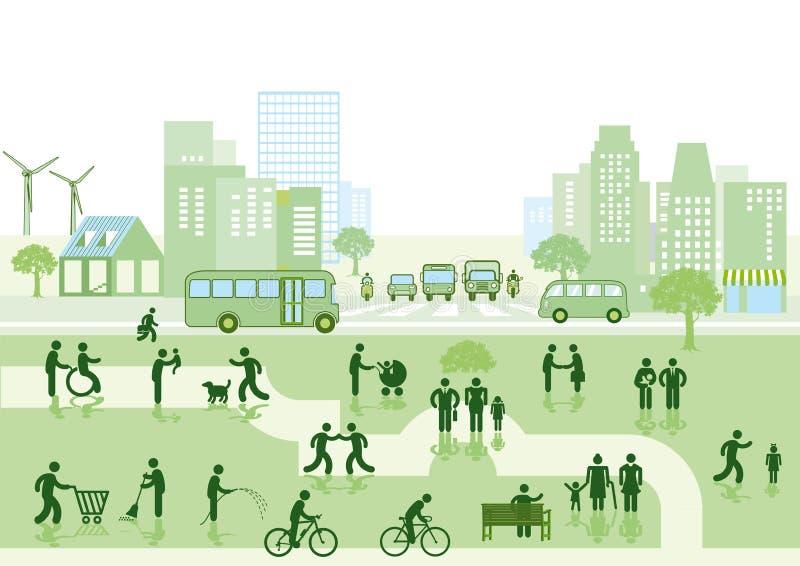 Ciudad y parque verdes ilustración del vector