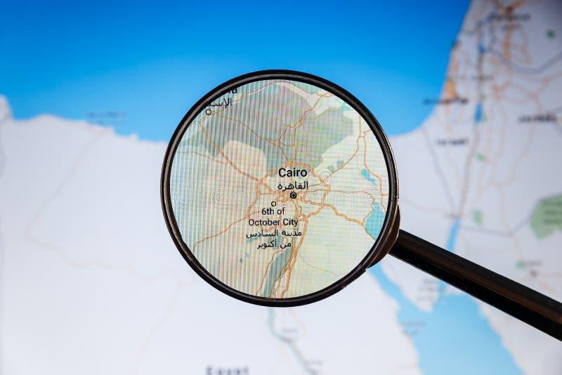 Ciudad y r?o el Nilo de El Cairo correspondencia pol?tica imágenes de archivo libres de regalías