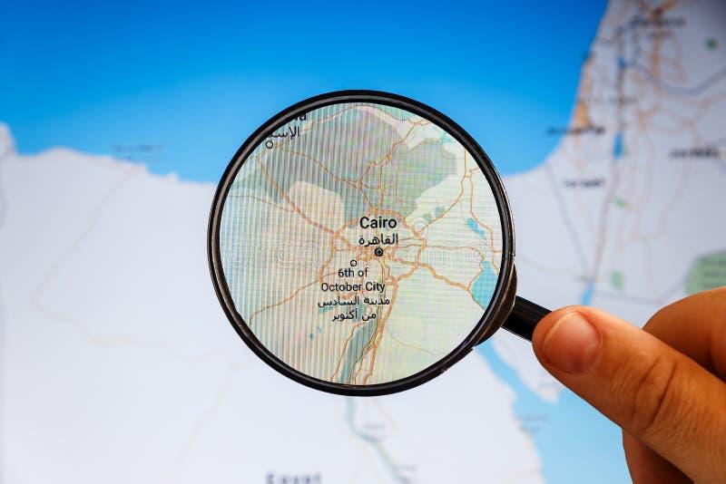 Ciudad y r?o el Nilo de El Cairo correspondencia pol?tica imagen de archivo