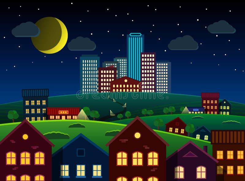 Ciudad y suburbios en la colina en la noche stock de ilustración